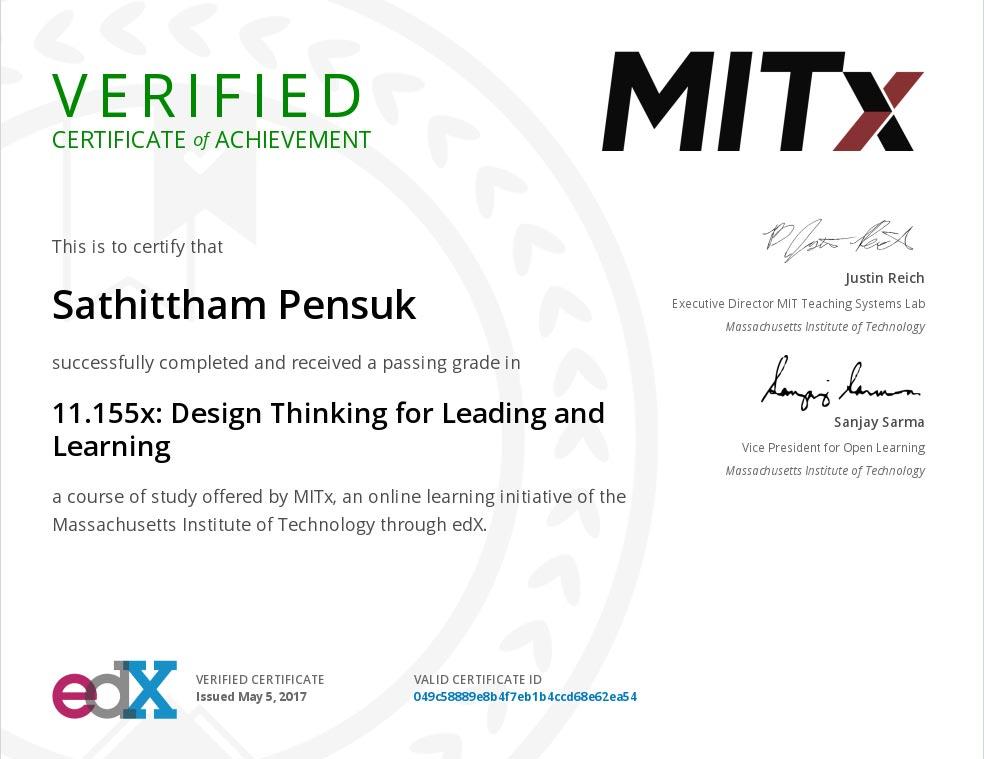 ประกาศนียบัตร จาก MITx ในหลักสูตร Design Thinking for Leading and Learning